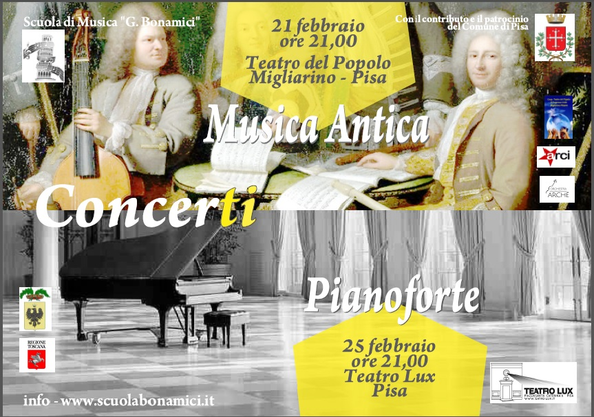 Appuntamenti musicali: dipartimento di Musica Antica e di classi di Pianoforte